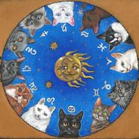 4X4 PRINT OF PAINTING RYTA ZODIAC BLACK TUXEDO CAT PERSIAN BRITISH SHORTHAIR ART