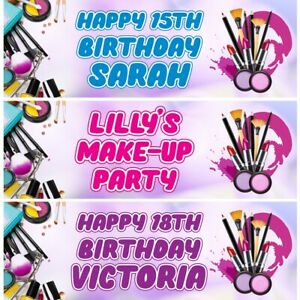 2 Personalised Make Up Birthday Party Celebration Banners Decoration Posters