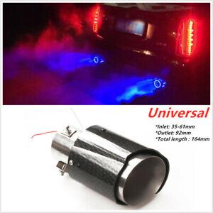 Glossy Straight Edge Steel Car Exhaust Muffler Tip Pipe W/Blue LED Light 35-61mm