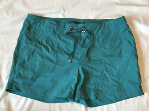 Prana Breathe Shorts SZ L Teal Pockets Drawstring Womens Hiking Outdoors Nylon