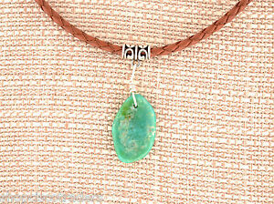 Unisex Campo Turquoise Sterling Wire Wrap Pendant Necklace Leather Braid Cord