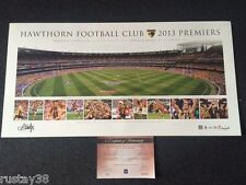 HAWTHORN 2013 AFL PREMIERSHIP LUKE HODGE HAND SIGNED GRAND FINAL PANORAMIC PRINT