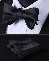 BP804LS Black Paisley Bowtie Men Silk Self Bow Tie handkerchief set