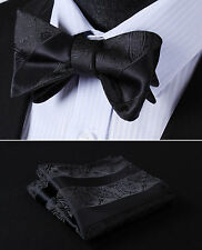 BP804LS Black Paisley Bowtie Men Silk Self Bow Tie handkerchief set