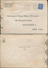 GB KG6 1945 PERFIN MIDLAND BANK on CENSORED ENVELOPE to MINNESOTA USA