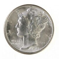 Raw 1945-D Mercury 10C Uncertified Ungraded US Mint 90% Silver Dime Coin