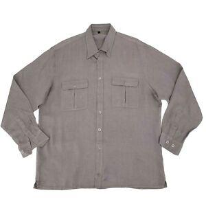 Bugatchi Uomo Dress Shirt Mens Size L Mauve Long Sleeve Double Pocket Silk Blend