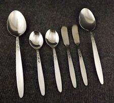 Vtg Amefa Tulip Time Lot of 2 Lg Serving Spoons, 2 Teaspoons & 2 Butter Spreader