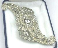 Vintage Art Deco Pin Crystal Pave Rhinestone Round & BAGUETTE Silvertone Brooch