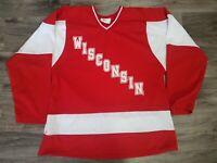 Vintage Wisconsin Badgers NCAA WCHA Hockey Jersey Mens Medium Red White Koronis