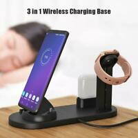 3in1 Wireless Charging Dock Station Charger Holder fr iPhone Airpods Apple Watch
