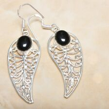 "Elegant Handmade Black Agate Onyx 925 Sterling Silver 2.5"" Earrings #E00185"