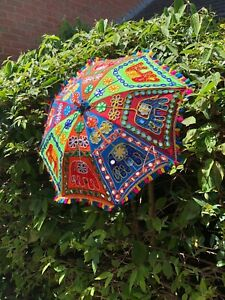 Indian Multicoloured 65cm Embroidered Hippy Boho Festival Sun Parasol Umbrella