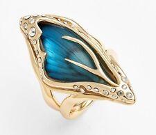 NEW Alexis Bittar Azure Blue Jardin Mystère Gold Butterfly Wing Ring 6 7