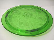 Vtg DEEP Green Uranium FLOWER Vaseline CAKE Platter Glass 3 Footed Trivet Plate
