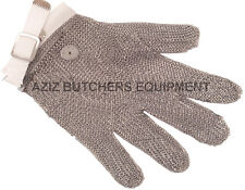 5 Finger Chainmail Protective Glove, Flexible strap, Full Hand Protection, SMALL