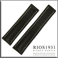 22x18 mm RIOS1931 for Panatime - Black Pilot - Leather Watch Band For Breitling
