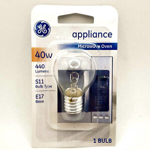 GE 40W Appliance Microwave Oven Light Bulb - 120V Ac Clear - E17 Base S11 Type