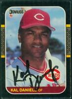 Original Autograph of Kal Daniels of the Cincinnati Reds on a 1987 Donruss Card