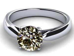 2.17+Ct Vvs1-Round Gray Brown White Moissanite Diamond Solitaire 925 Silver Ring