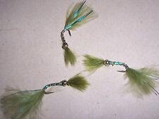 3 Goldhead OLIVE Glow Damsel Nymph Fishing Flies size 10 + blue flash Salmoflies