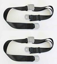 NEW! Sunbeam Tiger Black Seat Belts Set of 2 Chrome Buckle Pair Mustang MG Cobra