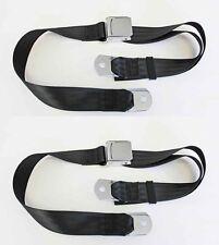 NEW! Sunbeam Tiger Black Seat Belts Set of 2 Chrome Buckle Pair Mustang MG Cobra