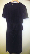 So Elegant Vintage 1980's Purple Patch 10 Black Lace Satin Top Long Skirt Suit