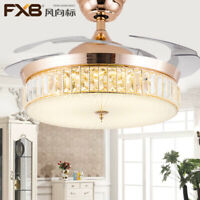 "42"" Crystal Ceiling Fans with Lights Retractable Blades Fan Chandelier Fixture"