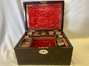 Antique 1800s  Rosewood Travelling Dressing Case Mother Of Pearl Escutcheon