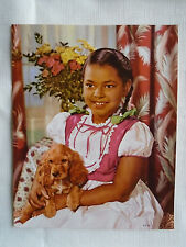 Vtg 50s Embossed African American Girl With Cocker Spaniel Lithograph 7 x 9