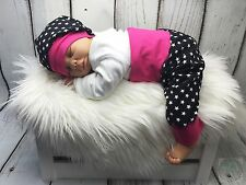 * 56/62 set Pump pantalones + gorra Rockstar estrellas Pink nacimiento regalo dawanda