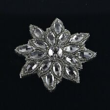Sew / Iron On Rhinestone Crystal Beaded Motif Wedding Dress Sash Applique Patch