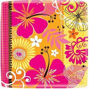 "Tropical Heat Hibiscus Pink Orange Luau Beach Party 7"" Square Dessert Plates"