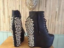 JEREMY CAMPBELL LITA BOOTS STUDDED SPIKE LEATHER ANKLE UK 5 EU 38 HIDDEN WEDGE