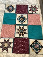 """Handmade Patchwork Quilt Crib/Lap Baby Girl Pink Turquoise 12 Block 37""""by 50"""""""