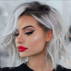 Fashion Women Short Wavy Hair Wig Silver Dark Gray Synthetic Wigs Party