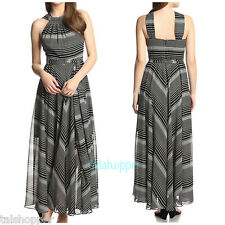 MUSE Gorgeous Black White Striped Long Flowing Maxi Dress NWT 12 $198 So Chic!