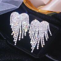 Luxury Wings Tassel Heart Rhinestone Earrings Stud Drop Dangle Wedding Women Hot