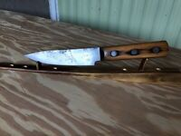 "Vintage Chef Butcher Knife Craftsman Carbon Steel 6"" Blade,Wood Handle, Sharp"