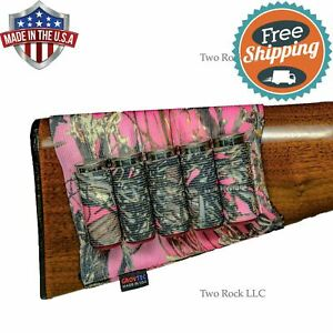 5-Round BUTTSTOCK Shotgun SHELL HOLDER Pouch - PINK TrueTimber Camouflage