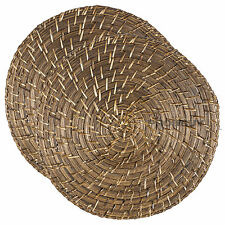Set of 2 Bamboo Rattan Placemats Round Serving Mats Dining Table Place Settings
