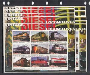 Trains Locomotives Transport 2002 Somalia MNH 9 v M/s 1 perf  X 10 Wholesale lot