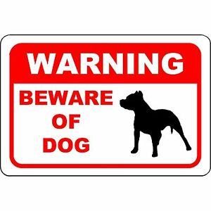 "Warning Beware of Dog Pit Bull Aluminum Sign 12"" x 8"" - UV Resistant"