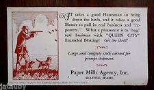 Vintage blotter Man Hunting Dog Gun Rifle Duck QUEEN CITY PAPER MILLS SEATTLE