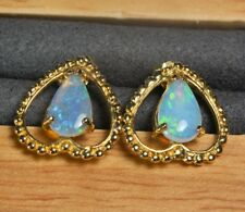 SALE: Solid  opal earrings, 18K Yellow Gold,Love Heart, Tear drop, crystal opal