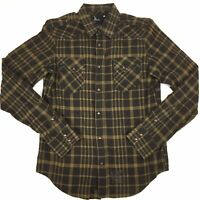 Gstar G-Star Raw Mens Brown Check Snap & Zip Long Sleeve Shirt Medium M