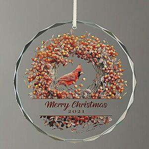 Marjolein Bastin NEW BEVELED-GLASS ORNAMENT Cardinal MERRY CHRISTMAS 2021 Wreath