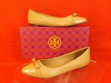 NIB TORY BURCH BEIGE LEATHER HUGO BOW POINT TOE GOLD REVA BALLET FLATS 10 $235