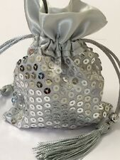 12 Silver Sequin Satin Favor Bags Wedding Birthday Party Baby Bridal Shower Gift